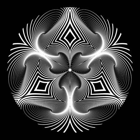 Circle design element. Geometric op art pattern. Lines texture. Vector art.  イラスト・ベクター素材