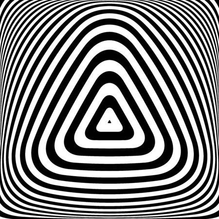 Op art triangles pattern. Geometric lines texture. Vector illustration.  イラスト・ベクター素材