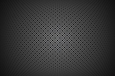 Convex geometric pattern.  3D illusion. Checked texture. Abstract black and grey background. Vector art.