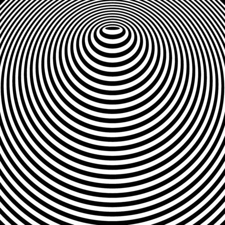 Conception graphique de lignes de cercle abstrait. Motif d'anneaux concentriques. Forme convexe. Art vectoriel.