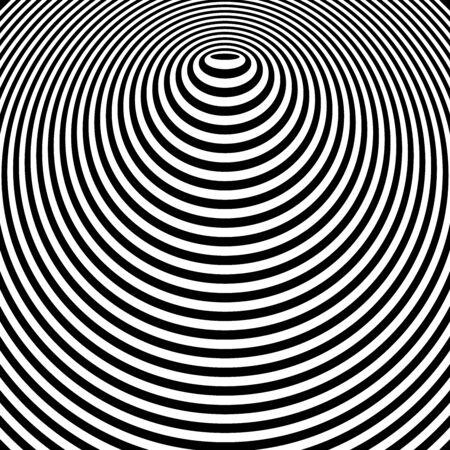 Streszczenie koło linii projekt graficzny. Koncentryczny wzór pierścieni. Wypukły kształt. Sztuka wektor.