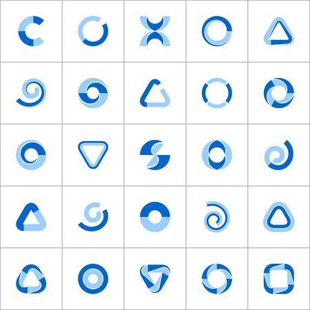 Design elements set. Abstract blue geometric icons. Vector art. Ilustracja