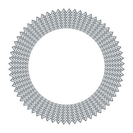 Circle geometric design element. 3d illusion. Striped zigzag lines and diamonds round pattern. Vector art. Çizim