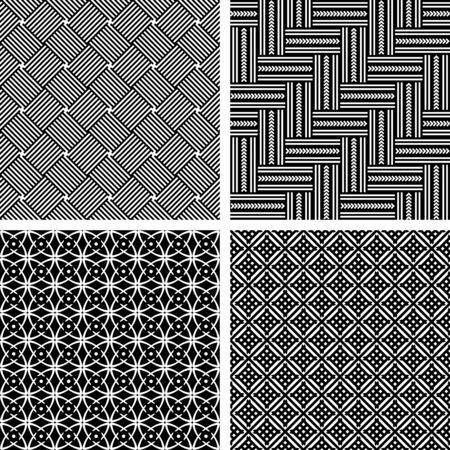 Seamless patterns set. Geometric black and white textures. Vector art.