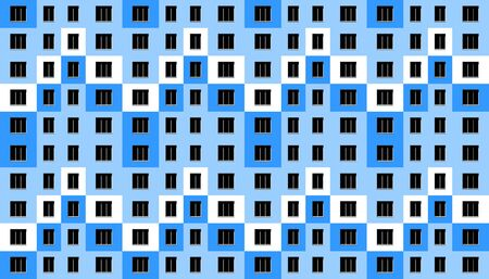Seamless architectural pattern. Windows and wall of modern apartment house. Abstract facade. Vector illustration.