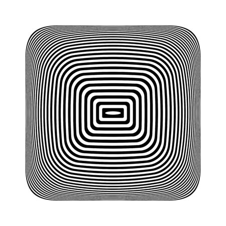 Geometrisches Op-Art-Design-Element. 3D-Illusion. Schwarz-weiß gestreifte Linien Textur. Vektor-Illustration. Vektorgrafik