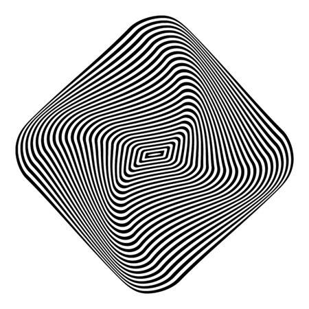 Geometric op art design element. 3D illusion. Black and white striped lines texture. Vector illustration.