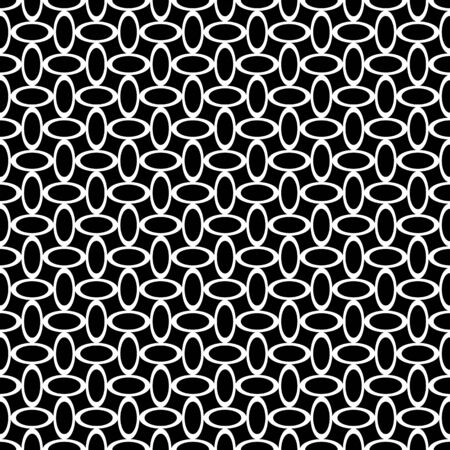 Seamless texture. White oval lines pattern on black background. Vector art. Reklamní fotografie - 133740107
