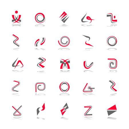 Design elements set. Abstract icons. Spiral, zigzag, circle and other red and grey symbols.