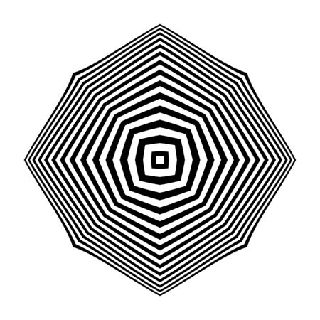Geometric op art design element. Black and white striped lines pattern. Vector illustration.