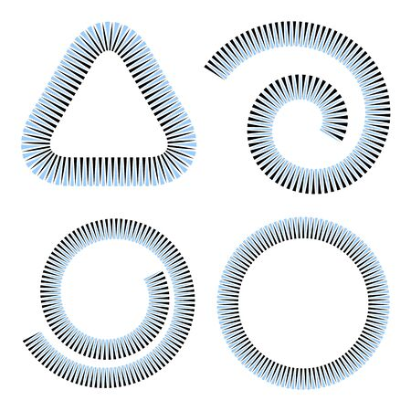 Design elements set. Spiral, circle and triangle geometric shapes.