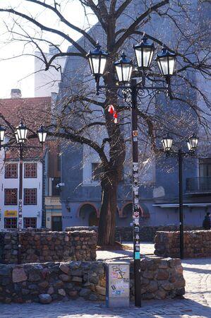 Riga, Latvia - March 29, 2018: Streetlamps on a street of Riga. Redakční