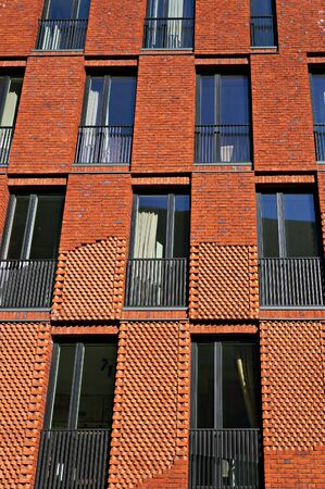 Riga, Latvia - March 28, 2018: Facade of modern building fragment.