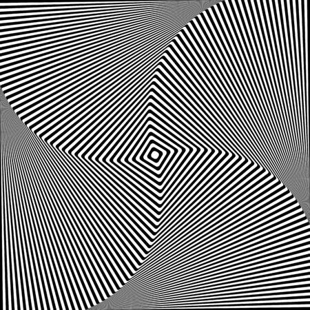 Abstract op art design. Rotation torsion movement effect. Vector illustration. Illusztráció