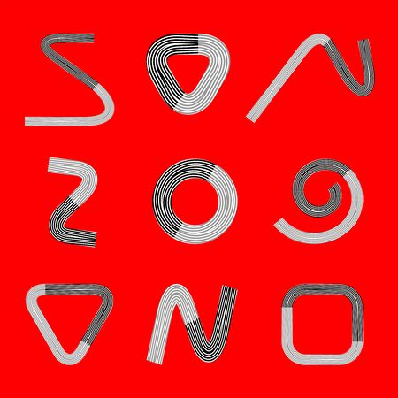 Design elements set. Abstract black, grey and white symbols on red background. Vector art. Zdjęcie Seryjne - 136674266