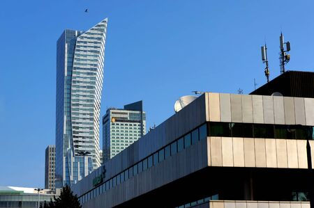 Warsaw, Poland - August 29, 2019: Modern buildings in downtown of Warsaw.