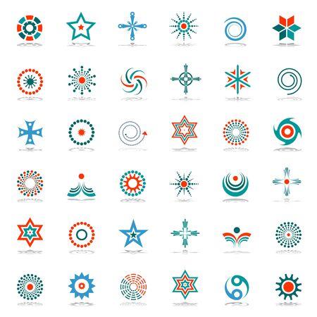 Design elements set. Stars, cross, circle and spiral shape symbols. Abstract icons. Vector illustration. Zdjęcie Seryjne - 136678349