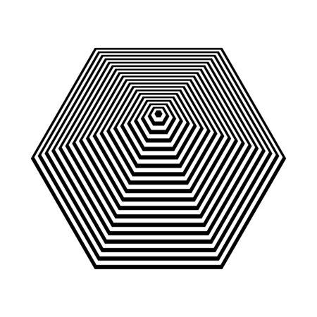 Pyramid shape. Abstract geometric design element. Hexagon lines texture. 3D illusion. Vector art.