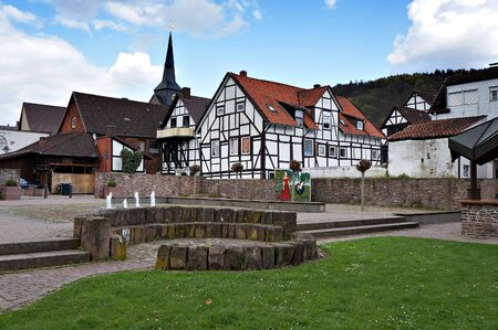 Bodenwerder, Germany - April 20, 2016: Townscape of Bodenwerder, Lower Saxony, Germany.