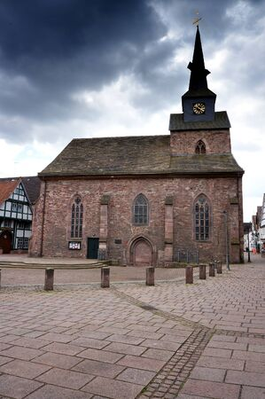 Bodenwerder, Germany - April 20, 2016: St Nicholas' Church in Bodenwerder, Lower Saxony, Germany.