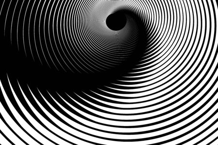 Illusion of spiral swirl movement. Abstract op art lines design. Vector illustration. Ilustrace
