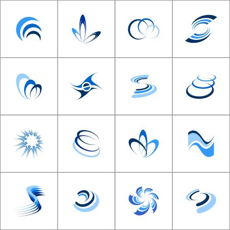 Design elements set. Abstract blue icons. Vector illustration.