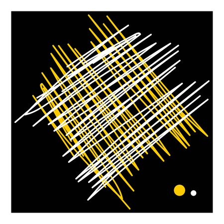 Abstract hatching lines and dots design. White and yellow texture on black background. Vector art.