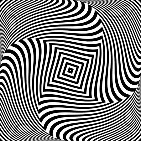 Złudzenie ruchu wirowego rotacji skrętnej. Tekstury linii. Streszczenie projektu op-art. Ilustracja wektorowa. Ilustracje wektorowe