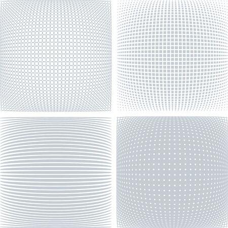 Geometric patterns in 3D spherical shape. Convex textures set. Vector art.