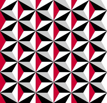 Motif géométrique sans soudure. illusion 3D. Fond et texture en mosaïque noire, rouge, grise et blanche. Art vectoriel.