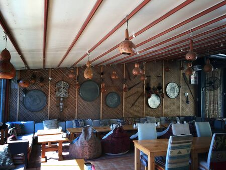 Istanbul, Turkey - March 05, 2019: Interior of traditional cosy cafe in Istanbul, Turkey. Redakční