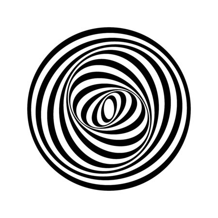 Circle geometric design element. Circular swirl rotation movement illusion. Vector art.