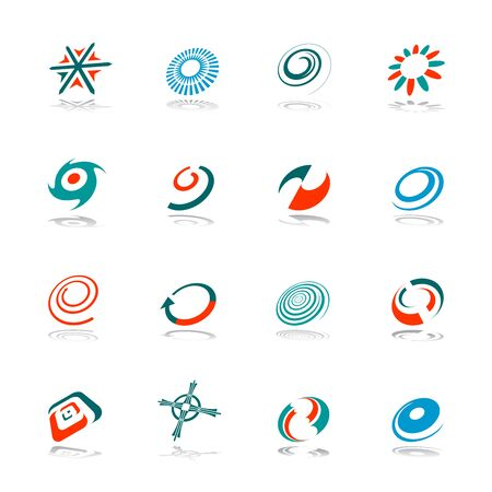 Design elements set. Abstract icons. Spiral, circle, arrow and other shapes. Vector illustration.