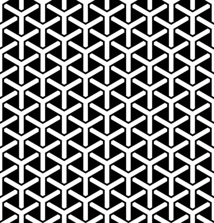 Seamless hexagons pattern. Geometric black and white texture. Vector art.