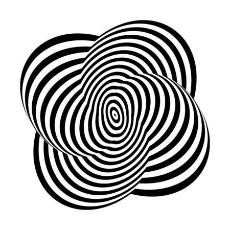 Geometric design element. 3D illusion. Black and white striped lines texture. Vector art.