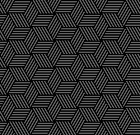 Abstract seamless geometric hexagon and diamond shapes pattern with illusion of 3D. Striped lines texture. Dark grey and black texture and background. Vector art.