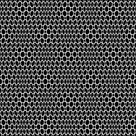 Abstract seamless lacy net pattern. White texture on black background.