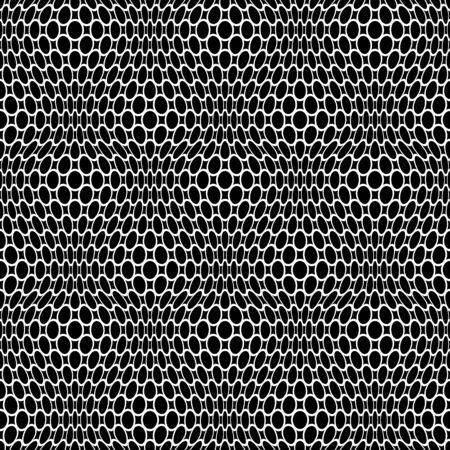 Patrón de red de encaje transparente abstracto. Textura blanca sobre fondo negro.
