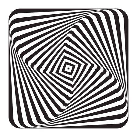 Abstract op art design element. Illusion of swirl movement. Lines texture. Vector illustration. Ilustrace