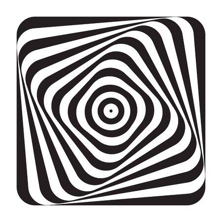 Abstract op art design element. Illusion of swirl movement. Lines pattern. Vector illustration. Ilustrace