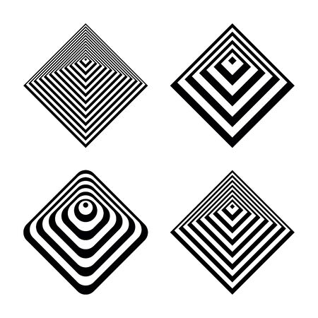 Abstract geometric icons in pyramid shape. Design elements set. Vector art.