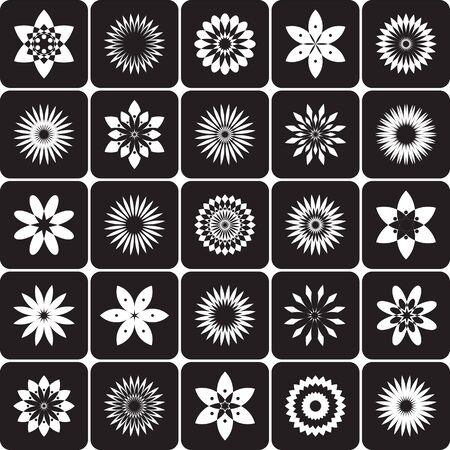 Abstract circle floral design elements. Decorative white icons on black background. Vector art. Ilustrace
