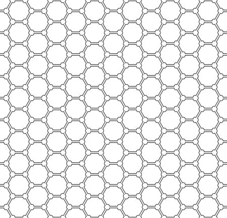 Seamless geometric hexagons pattern. White textured background. Vector art.