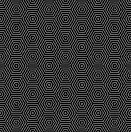 Abstract seamless geometric hexagons dark grey and black pattern. Vector art. Ilustrace