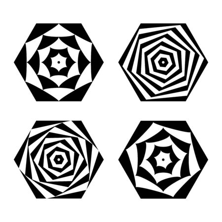 Abstract geometric icons in hexagon shape. Design elements set. Vector art.
