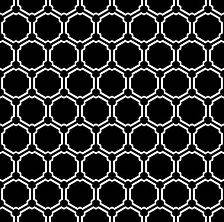 Seamless geometric hexagons grid pattern. White texture on black background. Vector art. Ilustrace