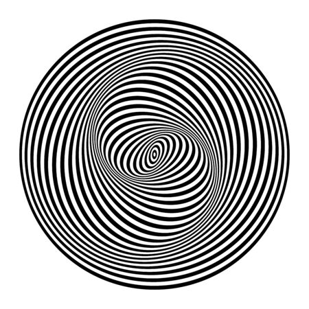 Illusion of spiral swirl movement. Abstract design element. Op art lines pattern. Vector illustration.