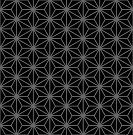 Abstract seamless geometric hexagon diamond star shapes pattern. Dark grey and black texture and background. Vector art.
