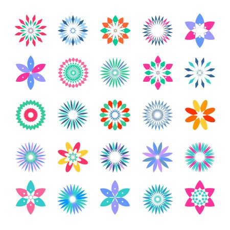 Abstract decorative flower icons. Design elements.set. Vector art.