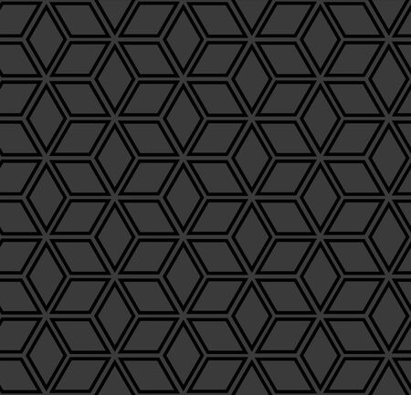 Abstract seamless geometric hexagon and diamond shapes pattern. Dark grey and black texture and background. Vector art.